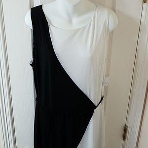 Sandra Darren Color Block black and white dress